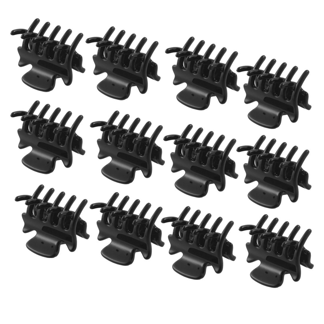 12pcs Small Plastic Black Hair Clips Claws Clamps