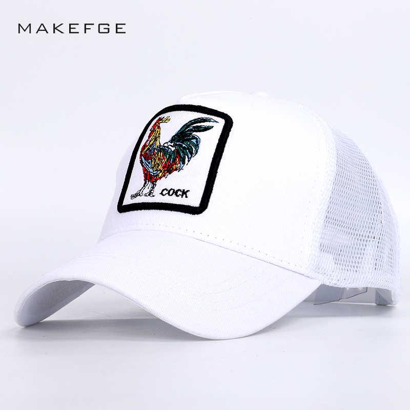 ab01026c6e4a5 2019 Fashion Cock Embroidery Mesh Baseball Caps Summer High Quality hip hop  hat Man Woman Sports