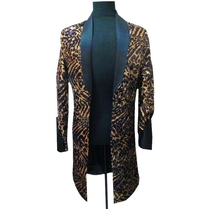 Leopard Long Jacket Men Singer DJ Nightclub Jlogn Blazer Men With Black Collar Men Fancy Long