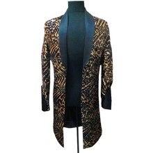 Леопардовый длинная куртка Для мужчин певец DJ ночной клуб jlogn Блейзер Для мужчин с черным воротником Для мужчин фантазии Длинный блейзер мужской костюм куртка плюс 5xl