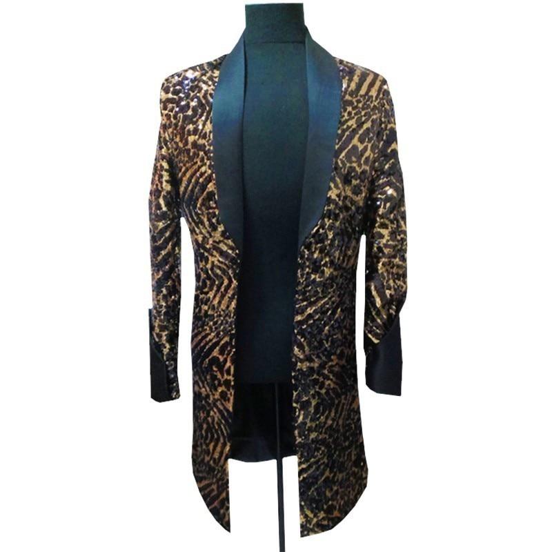 Leopard długa kurtka mężczyźni piosenkarka DJ klub nocny Jlogn Blazer mężczyzn z czarnym kołnierz mężczyźni fantazyjne długie Blazer mężczyźni garnitur kurtka plus 5xl w Marynarki od Odzież męska na  Grupa 1