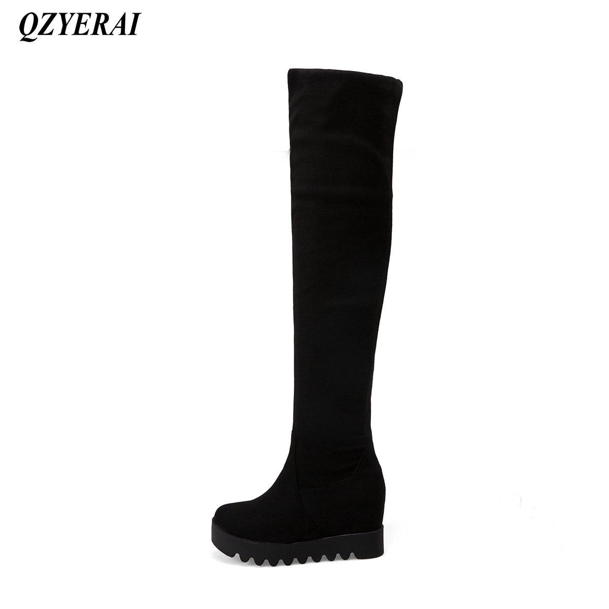 QZYERAI Winter thigh tight ladies long boots thick base heighten European fashion womens shoes womens boots