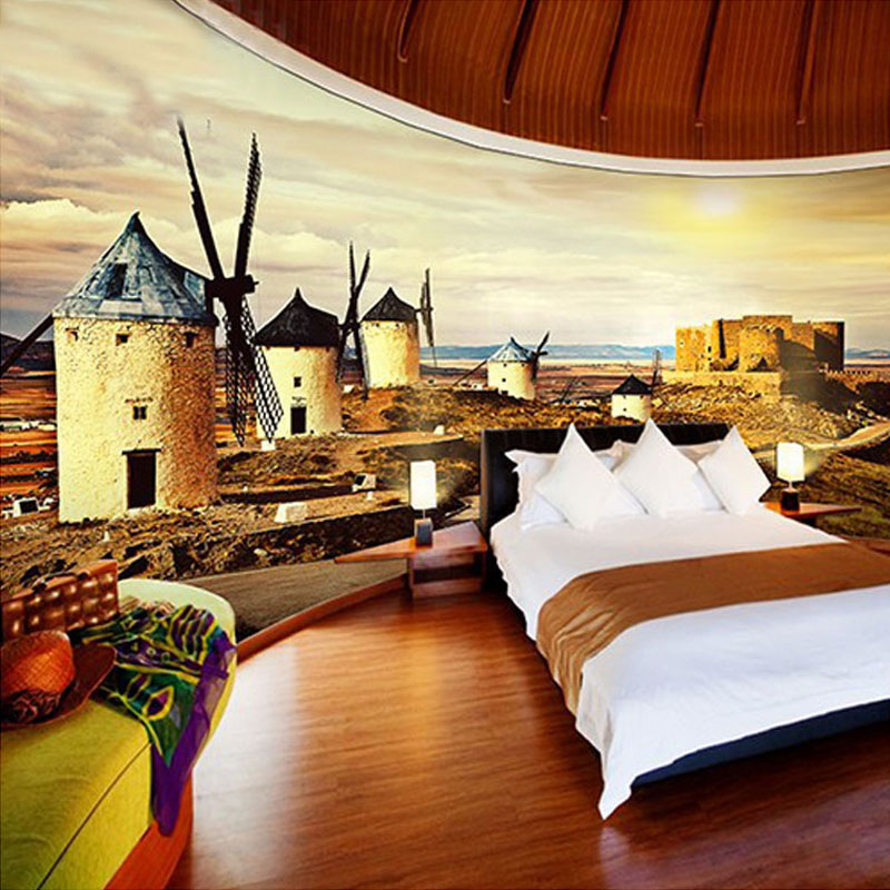 Custom 3D Photo Wallpaper Windmill Village Art Wall Mural Living Room Sofa Bedroom TV Background Straw Pattern Wallpaper Modern free shipping cartoon pattern wallpaper leisure bar ktv lounge living room sofa children room background comics wallpaper mural