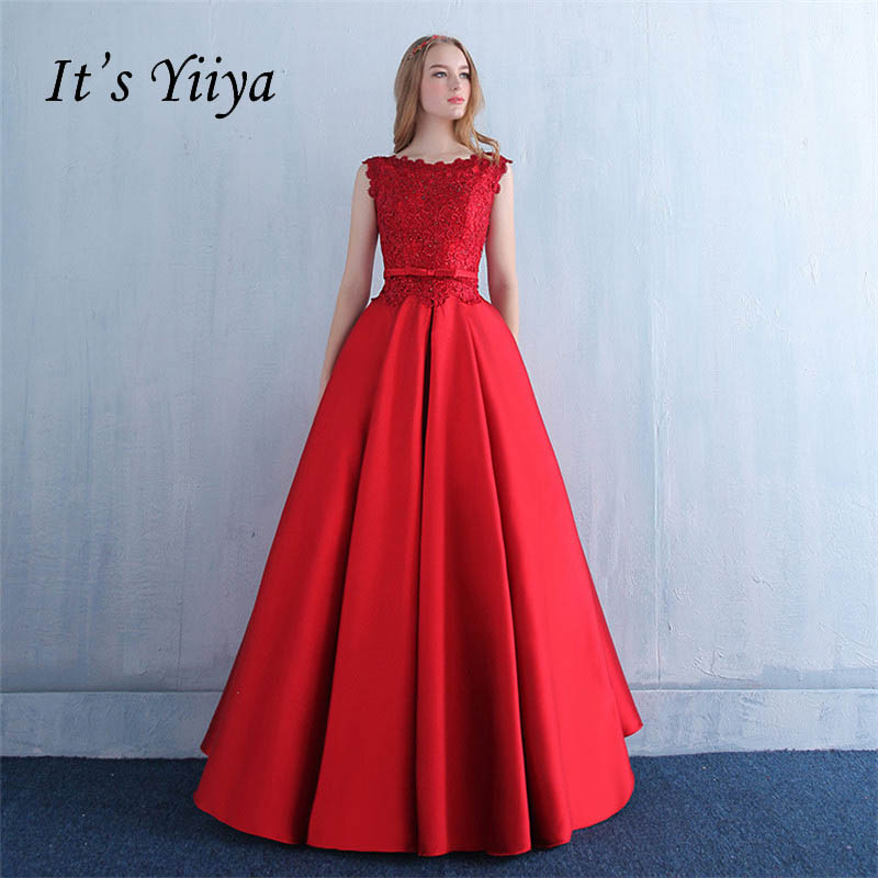 It's Yiiya Red Lace Up Taffeta Ball Gown Bow Lace Flower Evening Dress Floor Length Party Gown Evening Gowns Prom Dresses LX160
