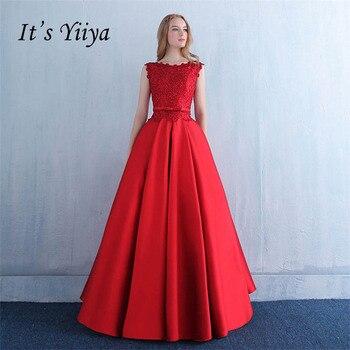 665544ae19eea1b Это Yiya Красное Кружевное бальное платье из тафты бант кружева цветок  вечернее платье длиной до пола вечерние платья для выпускного вечера .