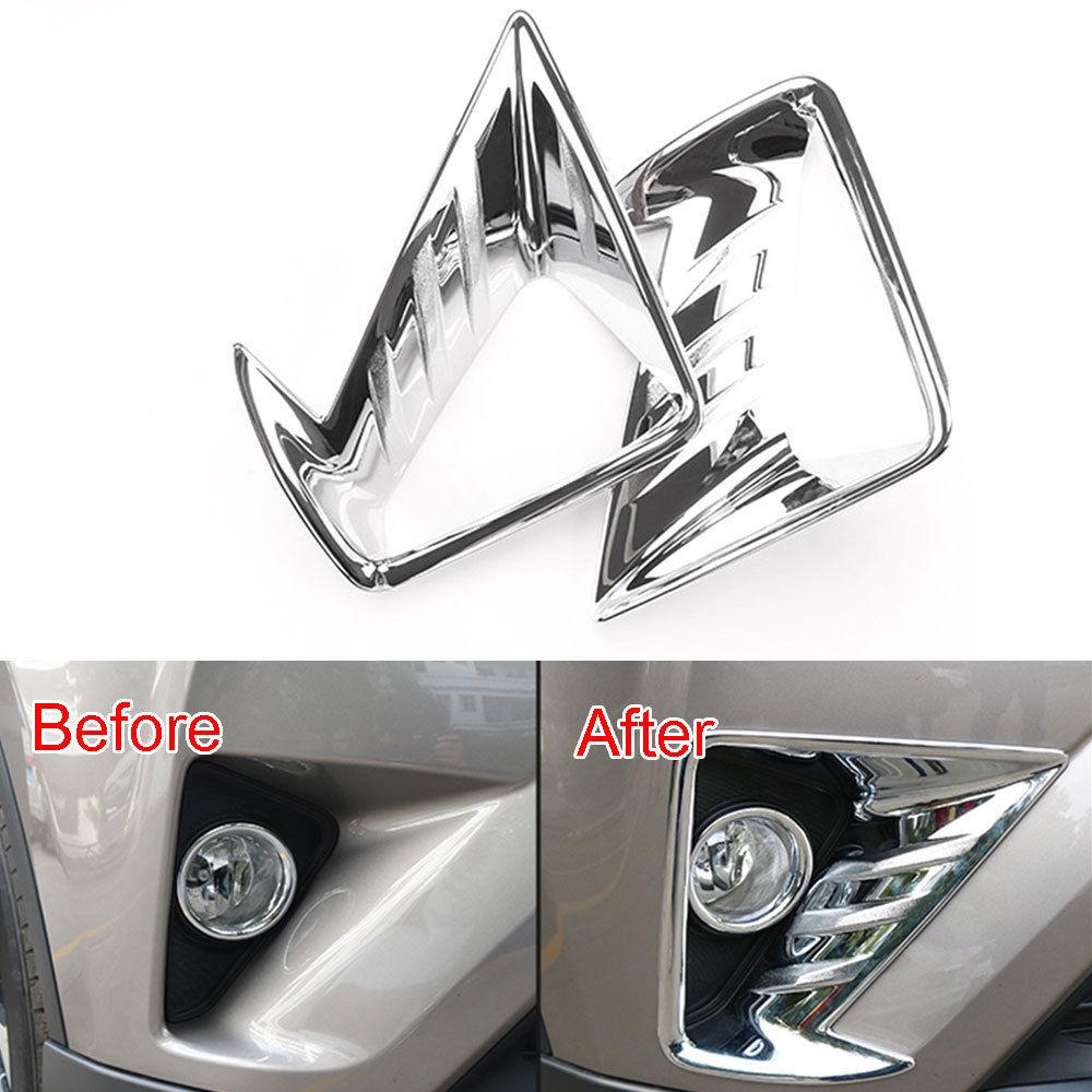 For Toyota RAV4 2016 2017 Car Front Fog Light Lamp Cover Trim Exterior Chromium ABS Decor Frame Car Styling Garnish Accessories