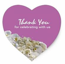 1.5inch Thank You Heart Shape Wedding Favor Label Stickers