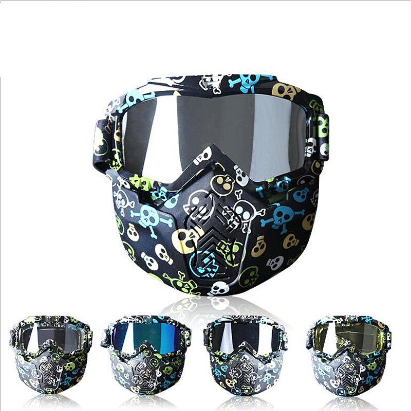 Masque de cyclisme lunettes Hot Face détachable Anti-buée lunettes pour hommes femmes Citycoco Ski vélo moto harley Scooter pièces - 3
