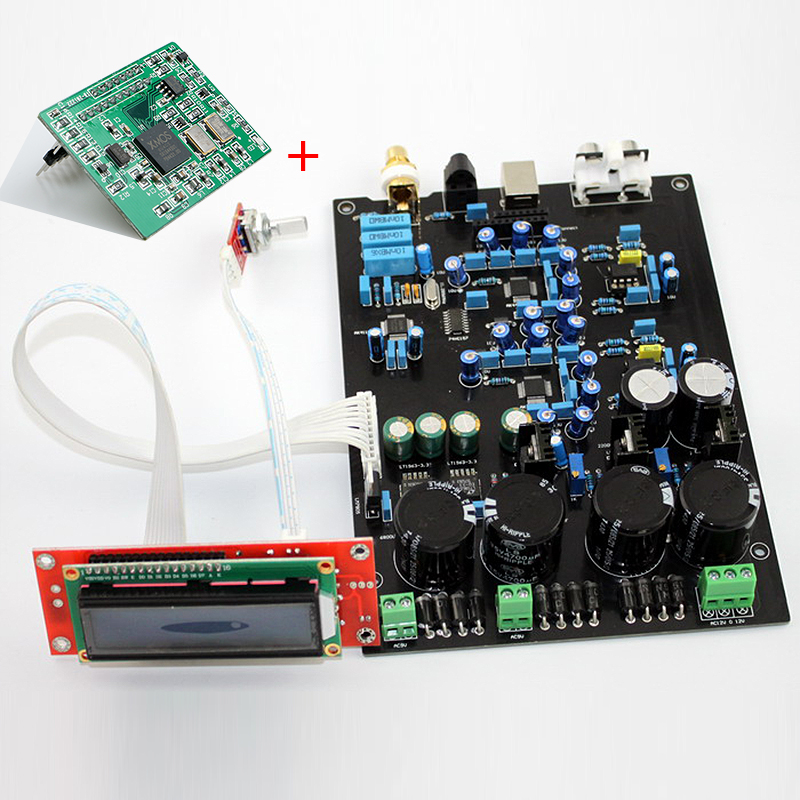USB DAC AUDIO amplificateur conseil AK4490EQ double et doux tableau de commande (fini) DOP DSD paquet XMOS U8 carte fille 24BIT/192 K