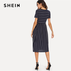 Image 3 - SHEIN Платье С Полосками Элегантное Платье С Коротким Рукавом Летние Женские Повседневные Платья