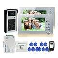 "FREE SHIPPING New 7"" LCD Screen Recorder Video Intercom Door Phone Kit Waterproof RFID Keypad Doorbell Camera 2 Monitors + 8G SD"