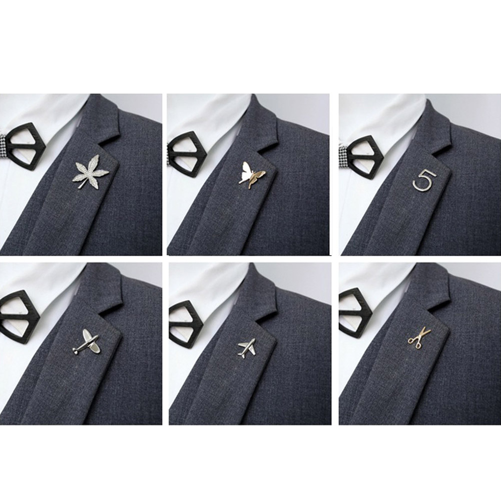 Vintage Simple Alloy DIY Leaf Plane Brooch Breastpin Gold Silver Men's Collar Lapel Pins Suit Accessories Jewelry For Women Gift 2