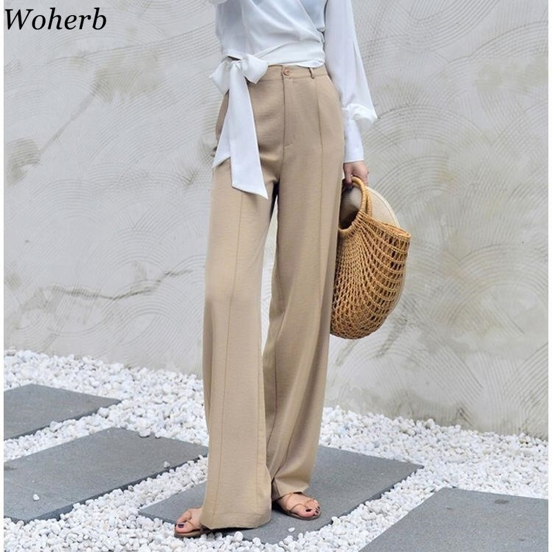 Woherb 2020 Modis Summer Wide Leg Pants Women Elastic High Waist Palazzo Pants Streetwear Elegant Office Ladies Trousers 22507