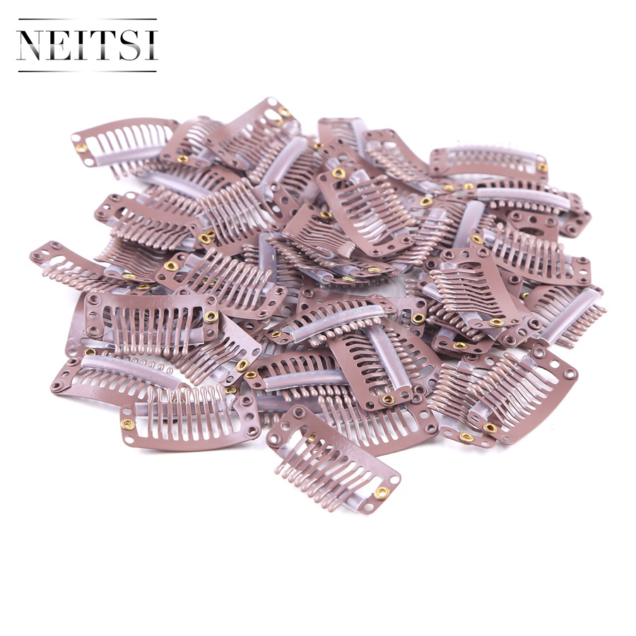 Neitsi I Shape Clips Stainless Steel Hair Snap Clips for Feather Clip In Hair Extensions Wigs Weft 3.2cm 50pcs/pack 3 Colors