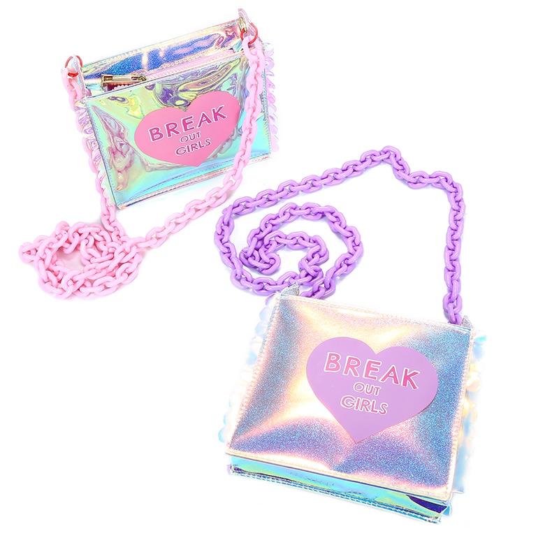 Nya 2018 Sommar hologram handväskor för kvinnor söt hjärta print - Handväskor - Foto 2
