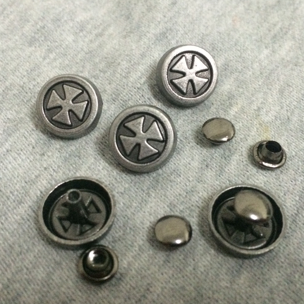 DIY 50PCS 12MM Antique Silver Round Cross Studs Rivet Punk Studs Spike Shoes font b Belt