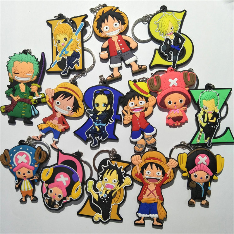 One Piece PVC Keychain Figures Toys Anime Cartoon Luffy Chopper Zoro Nico Nami  Sanji Key Bag Pendants Keyring Dolls 10pcslot (15)