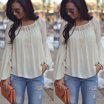 Women Summer Loose Casual Chiffon Blouse 1