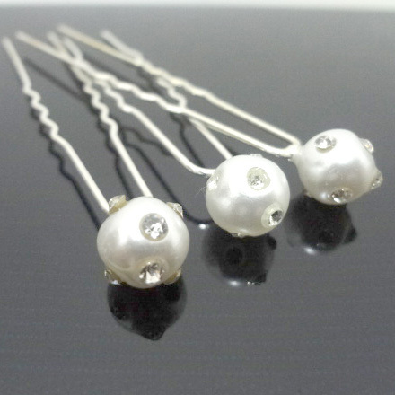 200pcs/lot Free Shipping Fashion Pearl Crystal Hair Pins, Party Prom Hair Clip, woman U shape Hair accessory