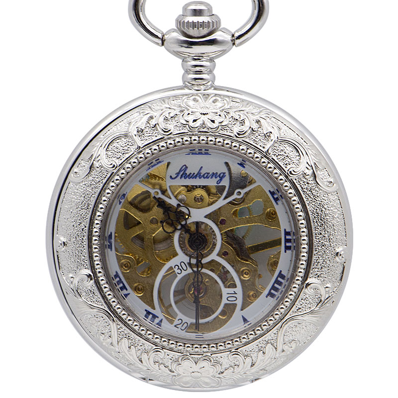 Fashion Vintage Silver Black Roman Number Roman Numeral Display Carving Mechanical Pocket Watch Mens Fob Watches For Gift