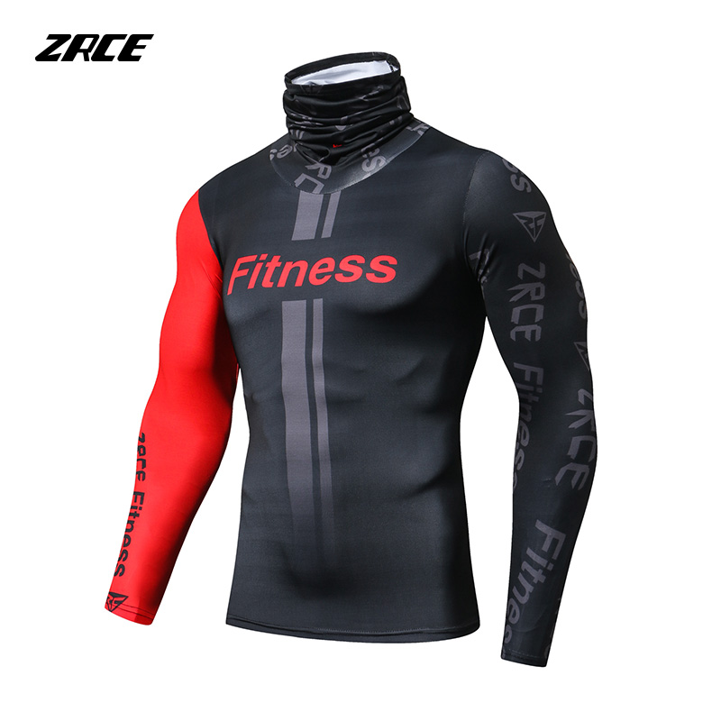 ZRCE New Autumn Winter Sport Warm Mens Turtleneck Pullover Neck Scarf Men Classic Knitwear Homme Compression Shirts Men Tops