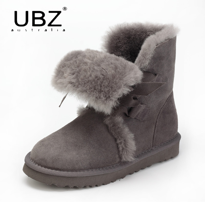 UBZ Women Sheep Fur Snow Boots Female Warm Winter Flat Bandage Calf Height Boots Large Size Female Shoes Free shipping ubz australia natural sheepskin fur snow boots female winter botas mujer warm flat heel bandage boots calf height free shipping