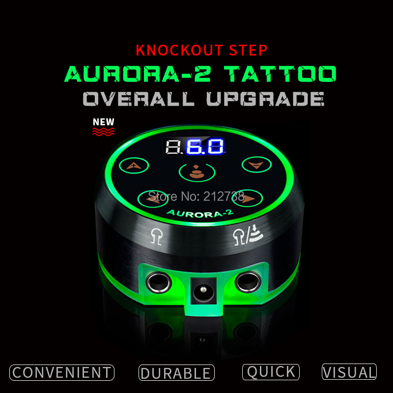 New Professional Mini AURORA II LCD Tattoo Power Supply with Power Adapter for Coil & Rotary Tattoo Machines