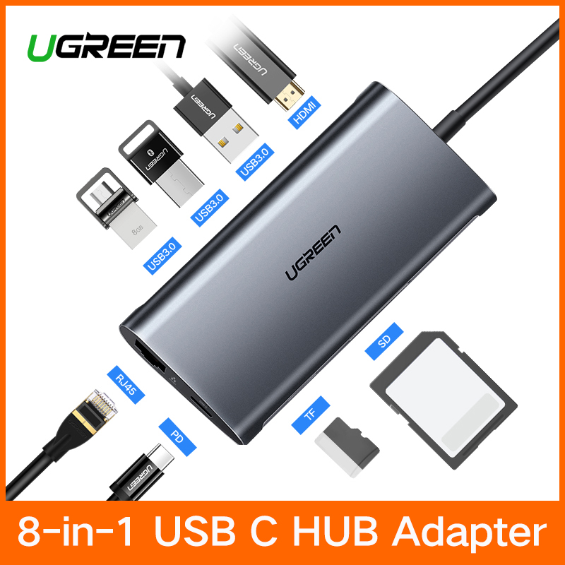 Ugreen USB HUB USB C a HDMI RJ45 Thunderbolt 3 Adattatore per MacBook Samsung Galaxy S9/Nota 9 Huawei p20 Pro di Tipo C USB 3.0 HUB