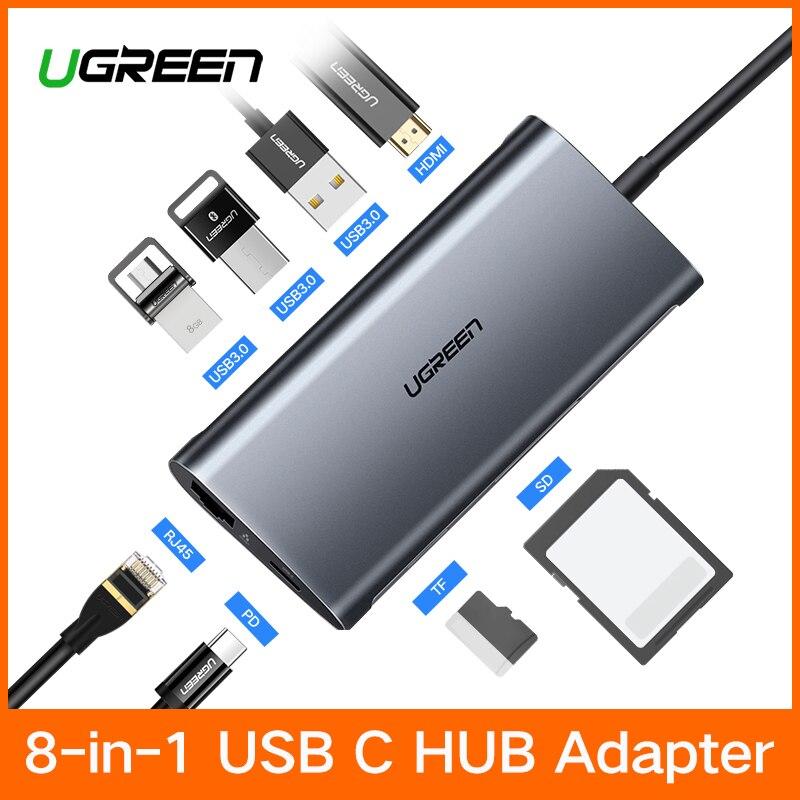 Ugreen USB HUB USB C a HDMI RJ45 Thunderbolt 3 adaptador para MacBook Samsung Galaxy S9/nota 9 Huawei p20 Pro tipo C USB 3,0 HUB