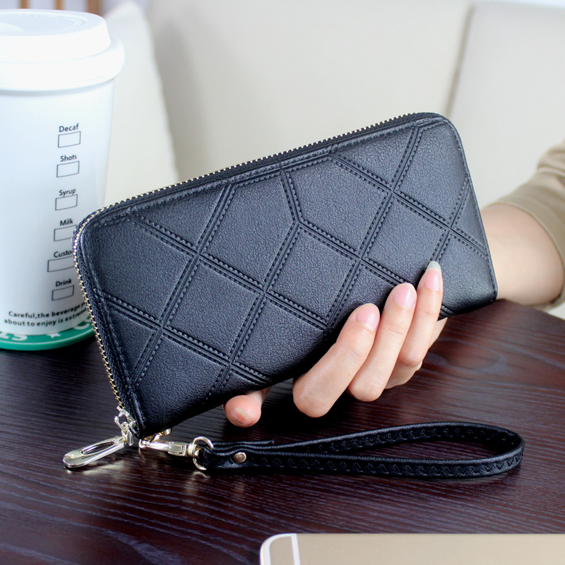 DORANMI PU Leather Women Wallet Purse Solid Color Black Wallets For Female Clutch Long Purses Bag NPJ002