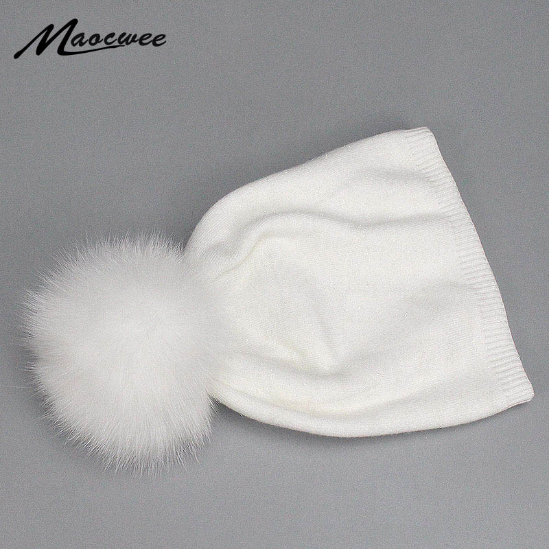 2018 Winter Women Hat Real Natural Fox Raccoon Fur Pompon Beanies Women Warm Knitted Cute White Hats Female Fashion Wool Caps