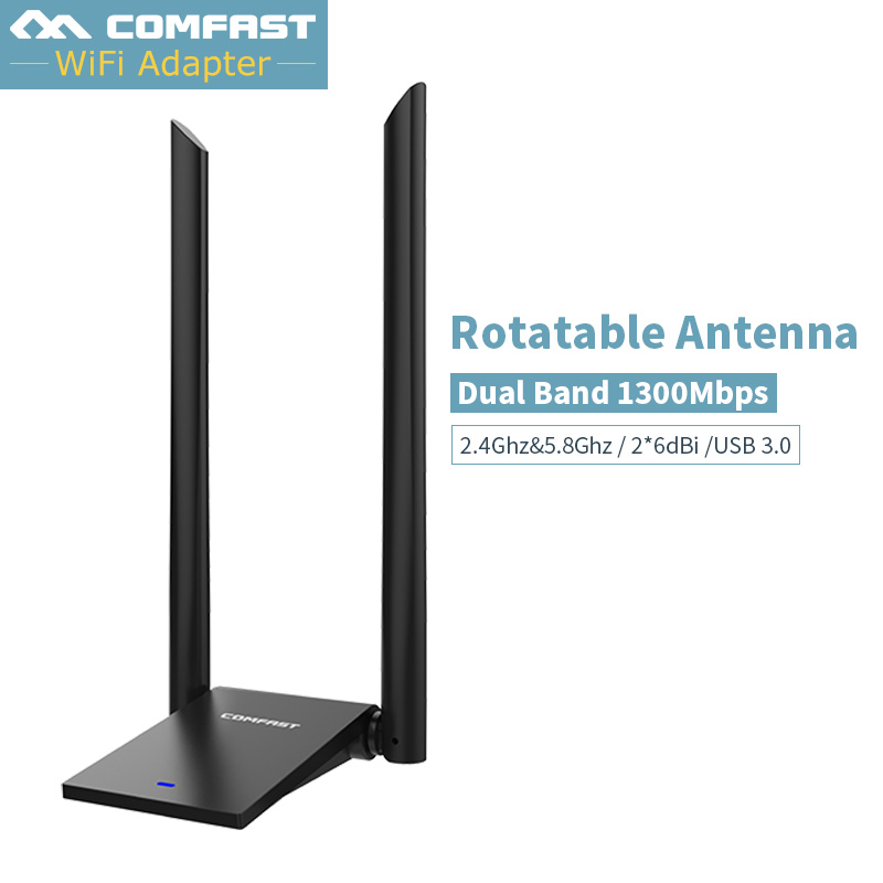 MT7612U High Power USB3.0 Wireless Network Adapter 1300Mbps Desktop PC Wifi Adapters Receiver Long Range Dual 6dBI Wifi Antenna