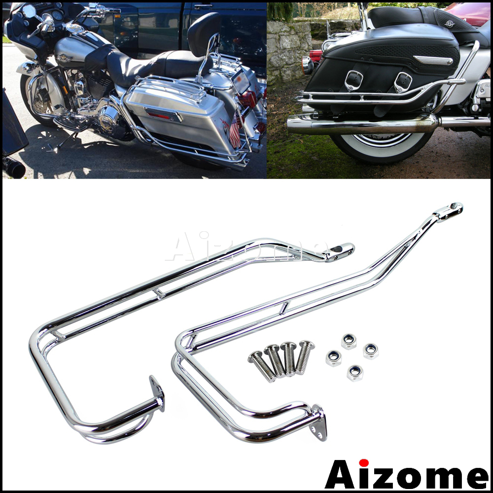 Motorcycle Nostalgic Saddlebag Guard Rails Bar Protection Kit For Harley Road King Electra Glide Road Street