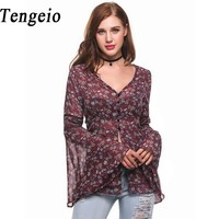 Tengeio Floral Print Chiffon Button Long Women Blouses V Neck Long Butterfly Sleeve Robe Femme Womens
