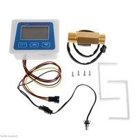 LCD display Digital flow meter+ Brass flow sensor temperature measuring YF B7 Hall sensor meter