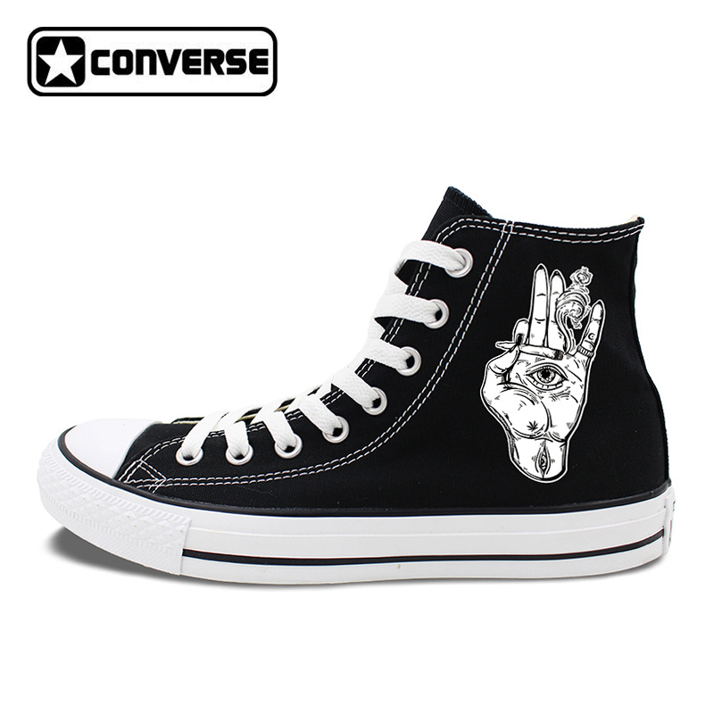 High Top Canvas Sneakers White Black Converse Original Design Palm Eyes Smoke Special Skateboarding Shoes for Men Women boys girls converse all star hand painted shoes women men shoes pokemon go charizard design high top canvas sneakers