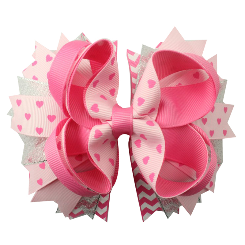 Adogirl Fashion Bowknot Barrette Girls Headwear Ribbon Bow Hair Clips For Women Hairpins Hairclips For Valentine's Day 5 Inch