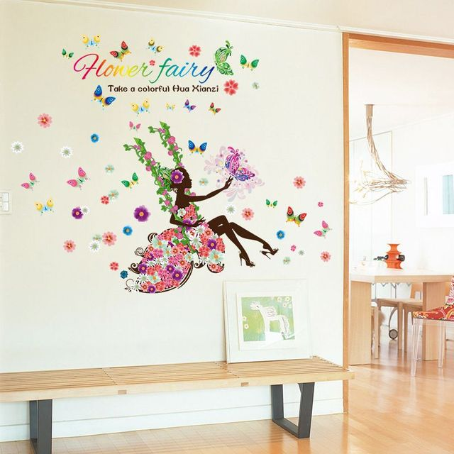 home fairy girl swing butterfly flora wall stickers for kids room rh aliexpress com kids room decals for walls