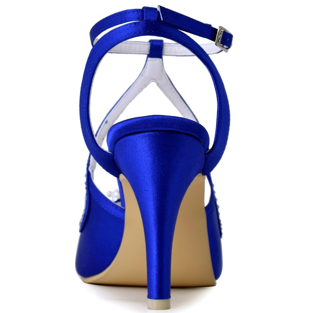 Summer Sandals Woman Wedding Bridal Shoes Ivory Blue Pearl Ankle ... 37c066d47718