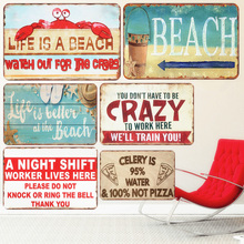 Life Is A Beach Plaque Vintage Metal Tin Signs Bar Outdoor Decorative Plates Mermaid Wall Stickers Ocean Poster Home Decor N250