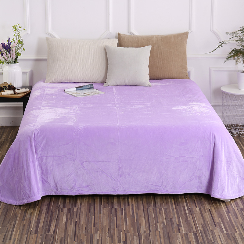 Elegant Lilac Solid Color Crystal Velvet Soft Sheets