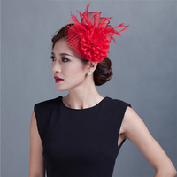 ShanFu Women Small Bridal Hat Feather Fascinators Chiffon Flower Headband with Veil Hair Accessories for Wedding Party