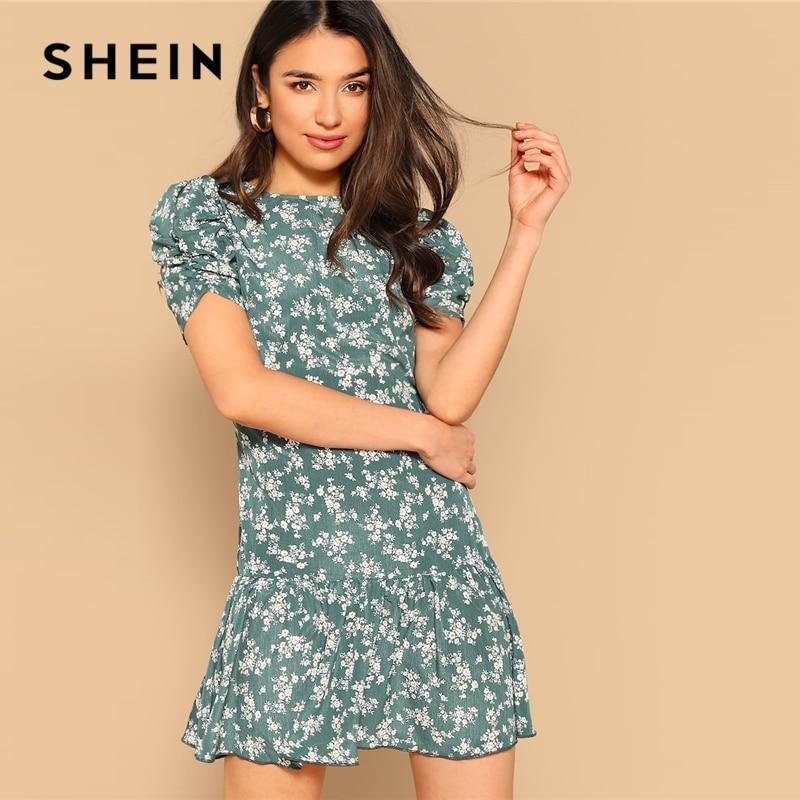 SHEIN greenpuff рукав с заниженной талией верхняя одежда на молнии, с цветочным рисунком, короткое платье; 2019 Весна туника с круглым вырезом, с коро...
