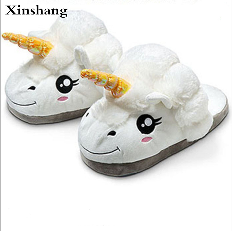 New Winter Indoor Slippers Plush Home Shoes Unicorn Slippers for Grown Ups Unisex Warm Home Slippers Shoes home grown