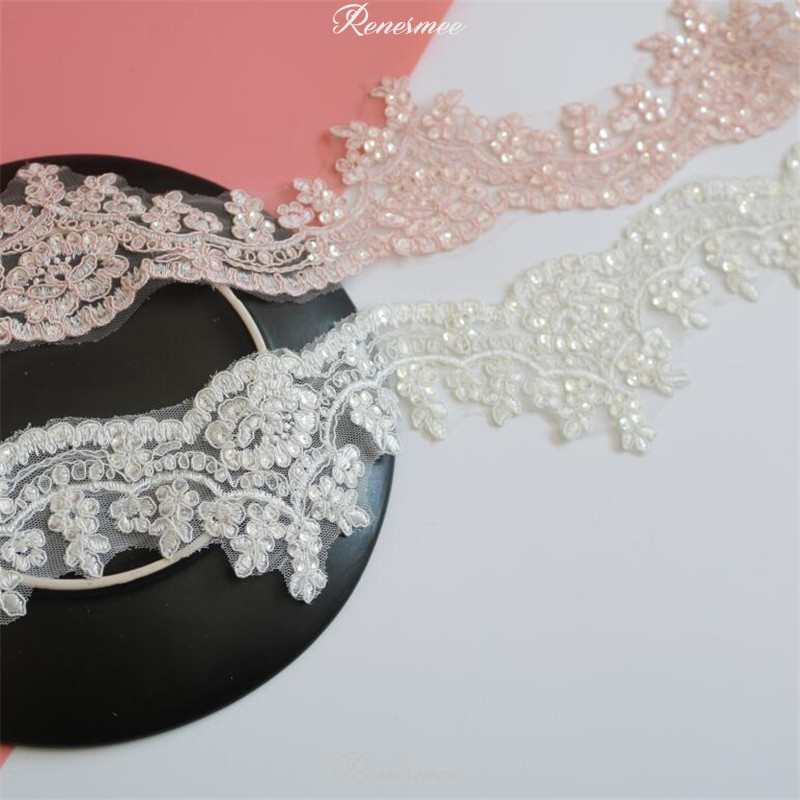1Yd Warm Pink Ivory Silver Sequins Edge Polyester Embroidery Lace Trim For Bridal Wedding Gown Costume Design Lace Ribbon 8cm