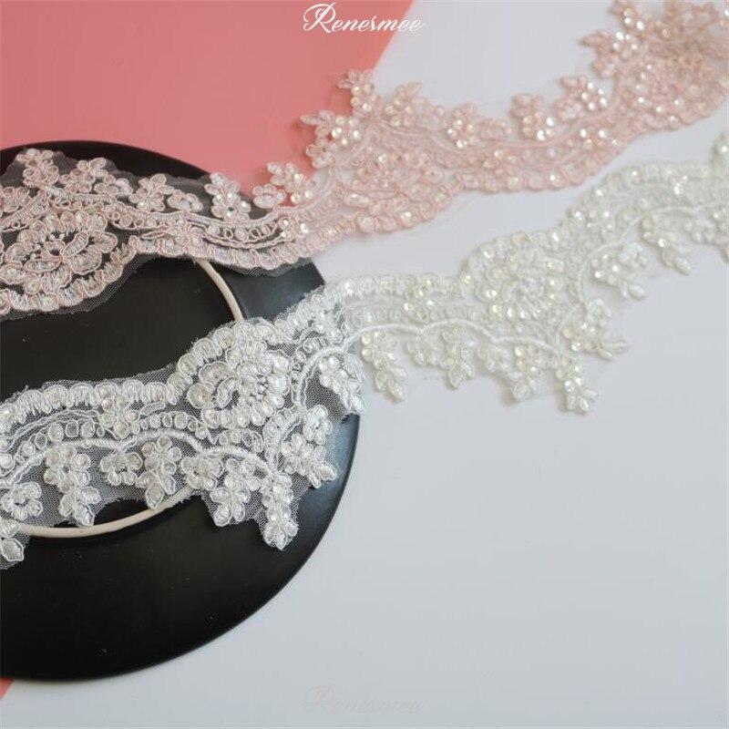 1Yd теплая розовая, Слоновая, серебряная, блестящая кромка, Полиэстеровая вышивка, кружевная отделка для свадебного платья, костюма, дизайнер...