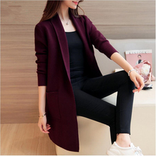 new Fashion spring autumn Woman knit cardigan simple all match pockets Trench Coat Open Stitch casual women sweater Windbreaker