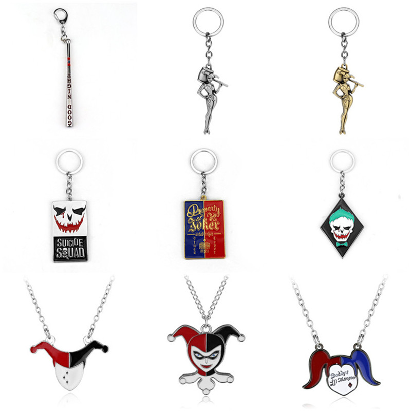 Suicide Squads Metal Baseball Bat Ball Negan Lucille Key Chain Pendant Keychain Batman Joker Charm Necklace For Men Women Gifts