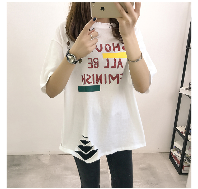 XL- 4XL 2019 new plus size summer loose High Street hole Letter print short sleeve O-Neck women T-shirt top tee TY5 19