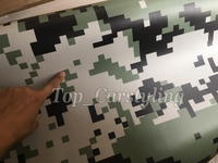 1.52x10m/roll Digital Camo Vinyl Car Wrap Green White Black Camouflage Film Jungle Car Motocycle Outboard Decal Sticker